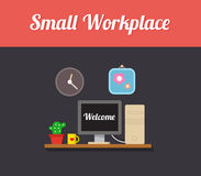 Small workplace, computer desk Royalty Free Stock Photo