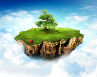 Small world. Small stylized peace of ground apple tree on it Stock Image