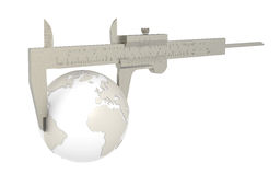 Small World. The Earth measured with a Caliper Stock Photography