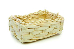 Small Woven Basket Isolated on White Stock Photo