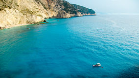 Small yacht anchored at Porto Katsiki beach on Lefkada island Stock Photography