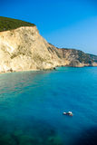 Small yacht anchored at Porto Katsiki beach on Lefkada island Stock Images