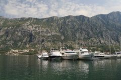 Small yacht in the Bay of Kotor in Montenegro Royalty Free Stock Photography