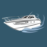 Small yacht  illustration. Luxury boat vector. Streamline vessel. Royalty Free Stock Image