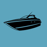 Small yacht isolated illustration. Luxury boat vector. Streamline vessel. Stock Image