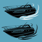 Small yacht isolated illustration. Luxury boat vector. Streamline vessel. Royalty Free Stock Photography