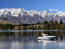 Small yacht on the Lake Wakatipu. Stock Photography