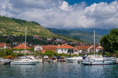 Small yacht marina vith sailing boats landscape Royalty Free Stock Photo