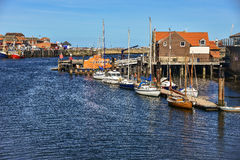 A small yacht at marina in Whitby Stock Photography