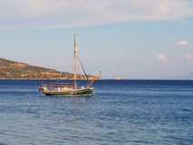 Small Yacht Moored in Bay Stock Photos