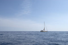 Small yacht in the sea Stock Images