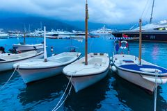 Small yachts in bay Royalty Free Stock Image