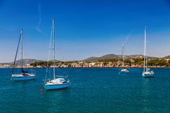 Small yachts in the bay of Portals Nous Royalty Free Stock Photos