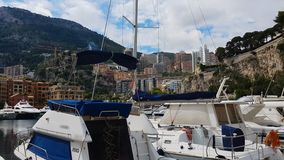 Small yachts and boats parked in port, water walks for tourists, pleasant rest stock video