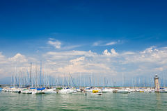 Small yachts in harbor in Desenzano, Garda lake, Italy Royalty Free Stock Photography