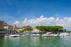 Small yachts in harbor in Desenzano, Garda lake, Italy Stock Photography