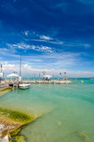 Small yachts in harbor in Desenzano, Garda lake, Italy Royalty Free Stock Images
