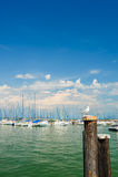 Small yachts in harbor in Desenzano, Garda lake, Italy Stock Photos