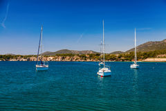 Small yachts in the harbor of Portals Nous Royalty Free Stock Photography