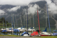 Small yachts on the lake Stock Photos