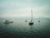 Small yachts on the lake in winter Stock Photos