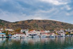 Small yachts in the port of Balaklava. In the Crimea stock image