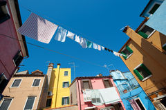 Small yard with colorful houses Royalty Free Stock Photos