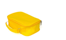 Small yellow bag. With isolated on white stock photography
