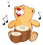 Illustration of a Stuffed Toy Bear Cub Drummer. Cartoon Character. Small yellow bear the musician with a musical instrument Stock Images