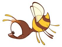 Illustration of a Cute Yellow Bee. Cartoon Character. Small it is yellow a brown bee with big eyes Royalty Free Stock Photos