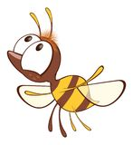 Illustration of a Cute Yellow Bee. Cartoon Character. Small it is yellow a brown bee with big eyes Stock Photos