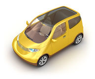 Small yellow car on white background Royalty Free Stock Images