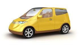 Small yellow car on white background Stock Images
