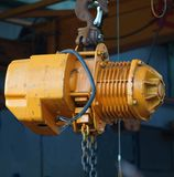 Small Yellow Crane Winch Royalty Free Stock Photos