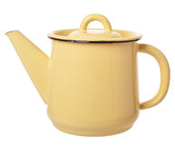 Small yellow enameled coffee pot. Coffee or tea kettle isolated Royalty Free Stock Photo