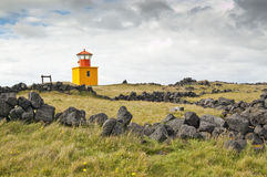 Small yellow lighthouse Stock Photo