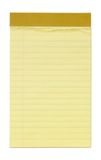 Small Yellow Lined Notepad. With clipping path Stock Images