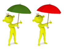 Small yellow man with an umbrella Royalty Free Stock Image