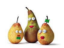 Small yellow pears. With a smile and eyes Royalty Free Stock Photos