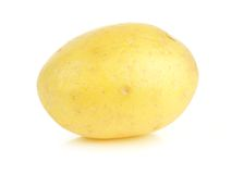 Small yellow potato isolated on white Stock Photo