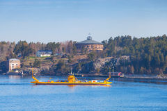 Small yellow Ro-Ro ferry in Sweden Royalty Free Stock Photography