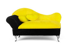 Small yellow sofa over white background Royalty Free Stock Photo