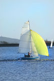 Small yellow yacht. Small yacht on inlandwater in cheddar somerset Royalty Free Stock Image