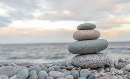 Small zen stone tower Stock Photos