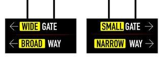 Smalle en brede manier brede kleine poort royalty-vrije illustratie