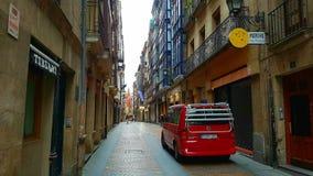 Smalle straat in Bilbao, Spanje Royalty-vrije Stock Afbeeldingen