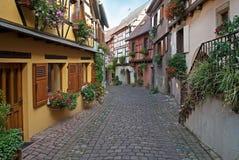 Smalle straat in de Elzas, Frankrijk Stock Afbeelding