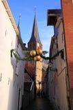Smalle straat in deventer, Nederland Royalty-vrije Stock Fotografie