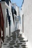 Smalle straat op Mykonos Royalty-vrije Stock Afbeeldingen