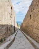 Smalle straat in Pompei, Napels, Italië Stock Foto
